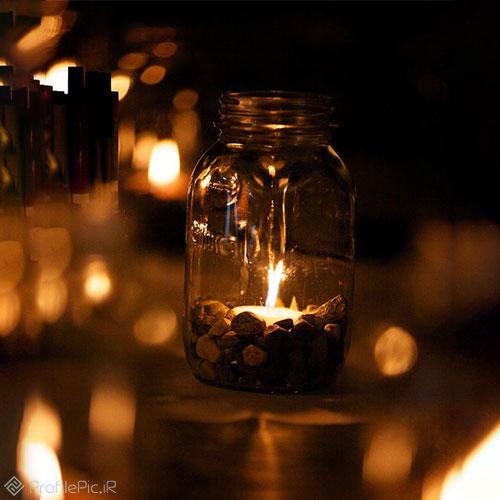 عکس پروفایل مشکی با شمع