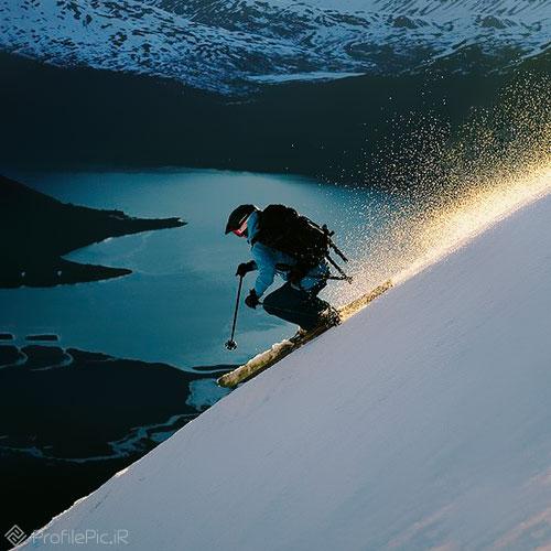 عکس اسکی روی برف