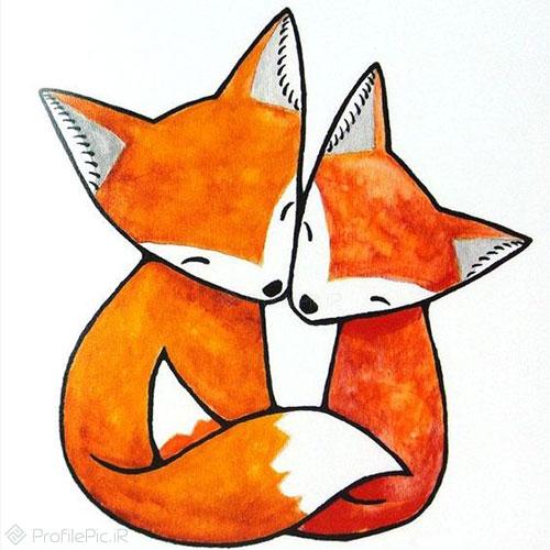 عکس بچه روباه کارتونی عاشقانه