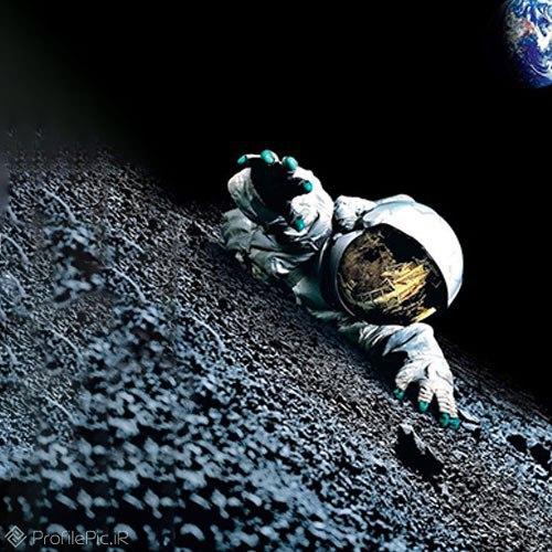 عکس زیبا فضانورد در کره ماه