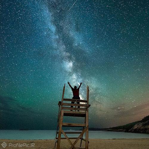 عکس آسمان پر ستاره متحرک